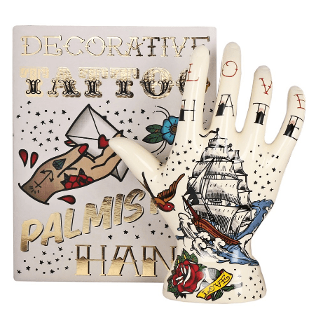 Image of the Galleon Tattoo Palmistry Hand. Ceramic tattoo hand ornament.