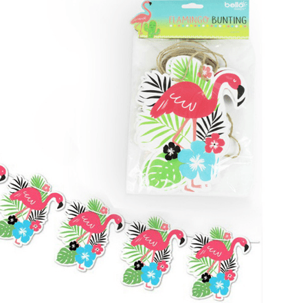 Image of Flamingo paper bunting. For parties, decoration.