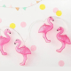 Image of flamingo party lighting. battery powered led string lights in flamingo design.