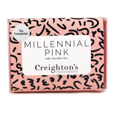 Image of the millennial pink chocolate bar from creighton's