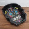 Image of day of the dead ashtray in black