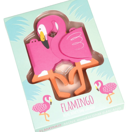 image of the mini honeycomb flamingo garland