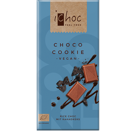 Image of the choco cookie vegan chocolate bar from iChoc