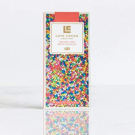 Image of the birthday cake white chocolate bar from love cocoa
