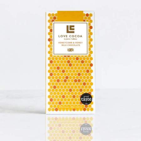 Image of the honey and honeycomb milk chocolate bar from Love Cocoa