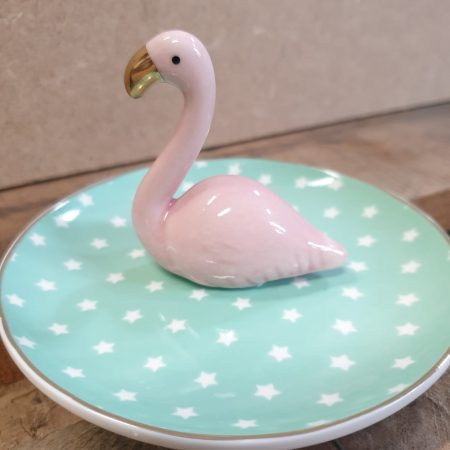 Image of a spotty flamingo trinket dish