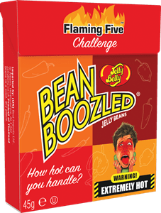Image of a pocket box of Beanboozled flaming five challenge beans
