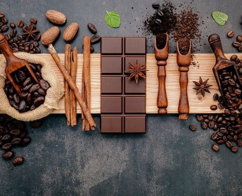 Image of chocolate bar coffee beans and nuts