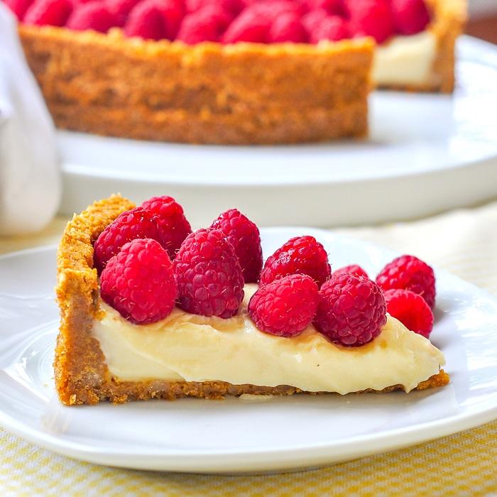 Old Fashioned Vanilla Custard Pie photo of a single slice on a white plate