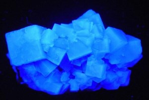 Fluorite glowing under short wave ultraviolet light best UV black light flashlight for minerals