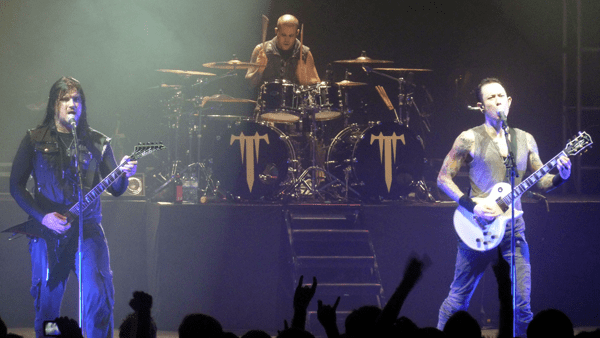 Matt, Corey & Nick from Trivium on stage at Brixton during Defenders Of The Faith III