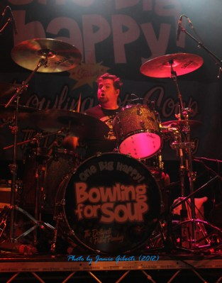 Gary Wiseman from Bowling For Soup on stage at Cambridge Junction, October 2012 (second photo)