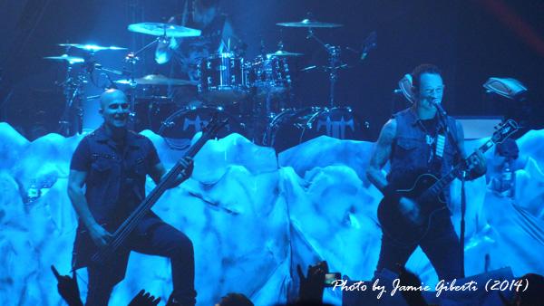 Trivium's Matt Heafy & Paolo Gregoletto on stage at Brixton Academy February 2014