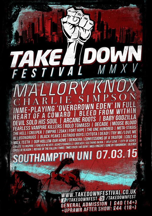 Takedown Festival 2015 Poster inc Heart Of A Coward