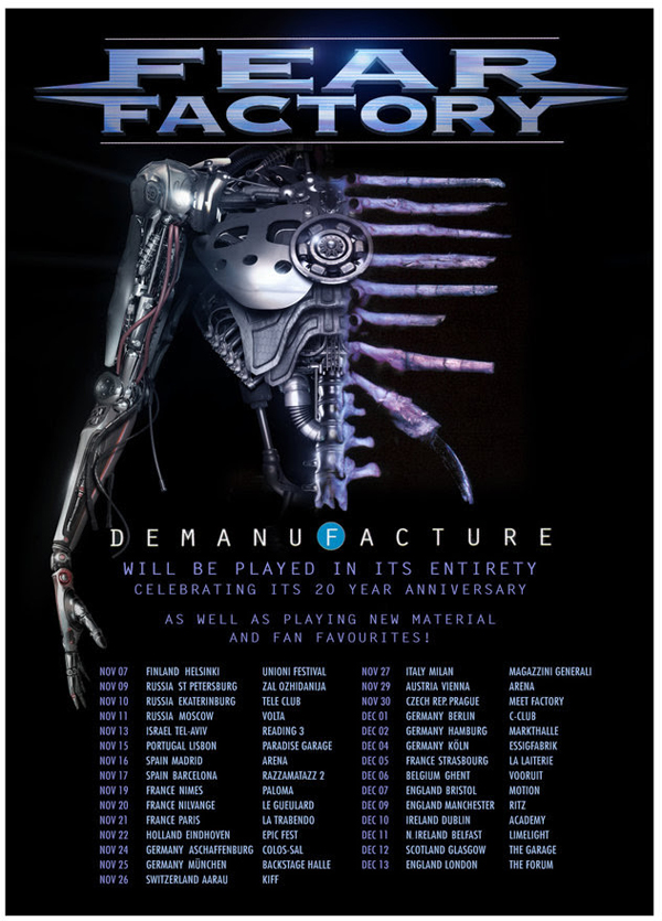 Fear Factory Demanufactured 20th Anniversary UK European Tour Poster