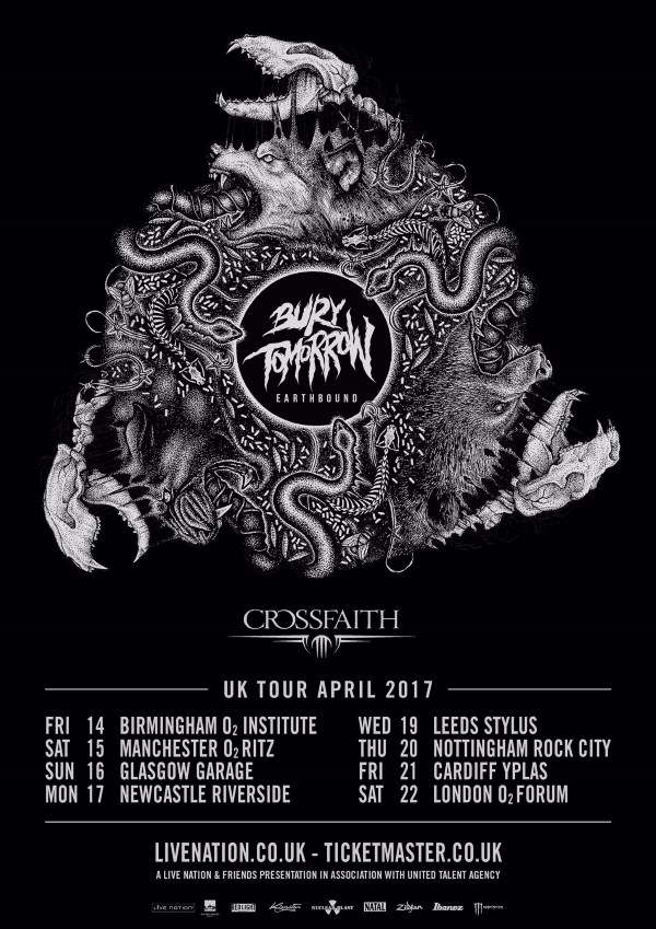 Bury Tomorrow Crossfaith 2017 UK Tour Poster