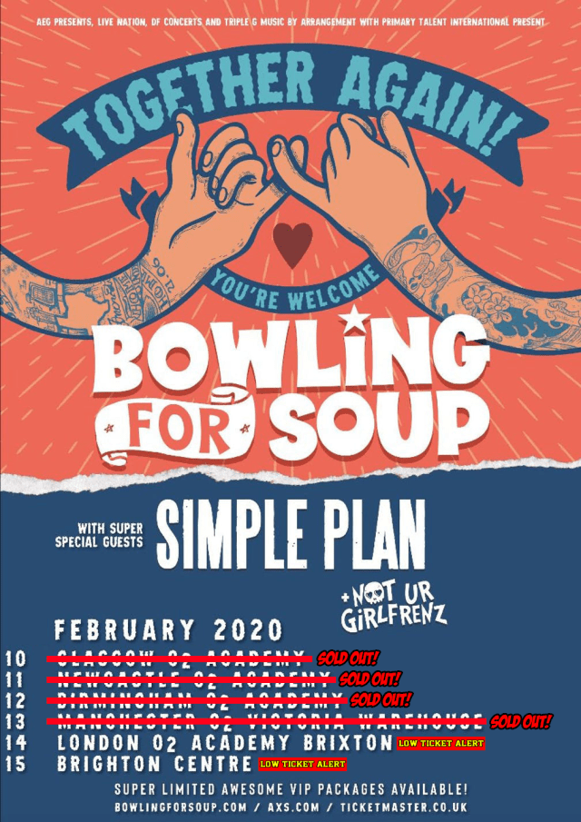 Bowling For Soup - Together Again, You're Welcome UK Tour Poster February 2020