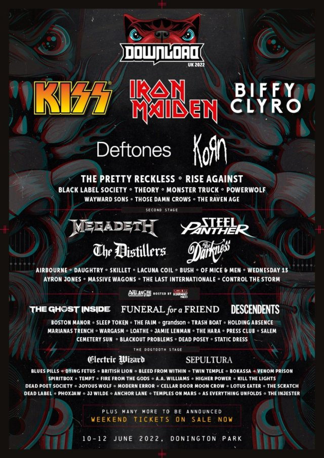 Download Festival 2022 First Full Line Up Poster