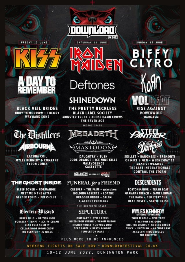 Download Festival 2022 Second Full Line Up Poster With Daysplits