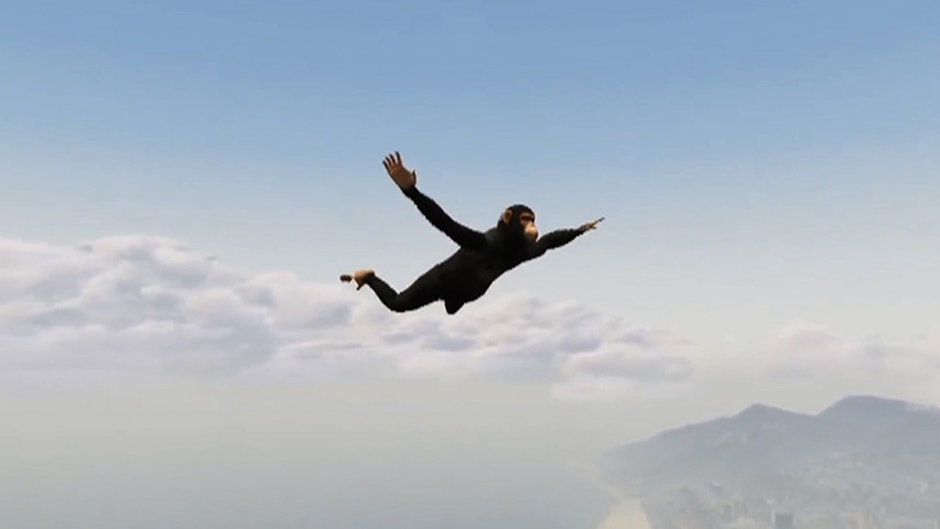 le fameux singe volant de Grand Theft Auto V