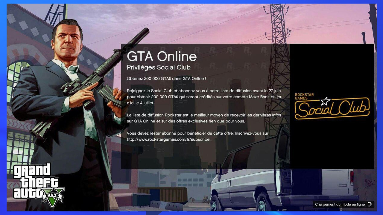 GTA Online Prime de 200000 GTA$ via la Newsletter