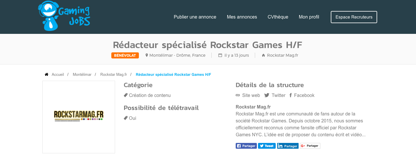 Annonce Rédacteur Rockstar Mag'