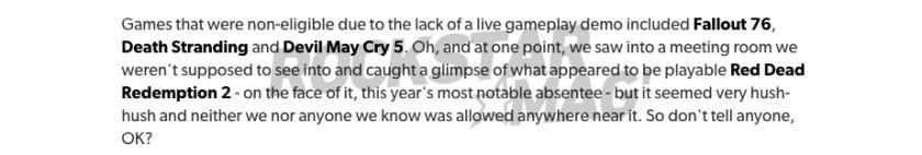 Message Eurogamer Red Dead Redemption 2