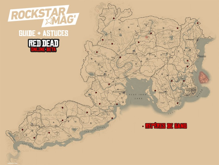 MAP Guide Red Dead Online Repères de Gangs