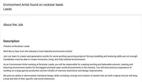 Une offre d'emploi en lien possible avec GTA VI pour Rockstar Leeds