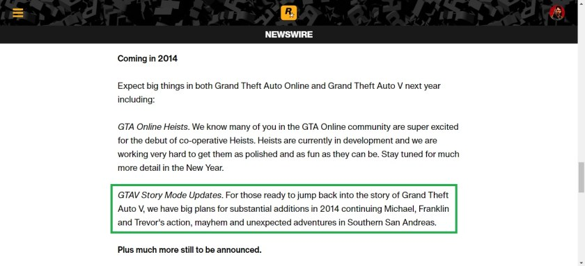 Story DLC GTA V annonce