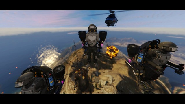 Screenshot of jetpack that is at the end of the GTA Online Doomsday Heist trailer