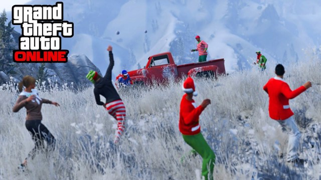 GTA characters having a snowball fight in a snowy field