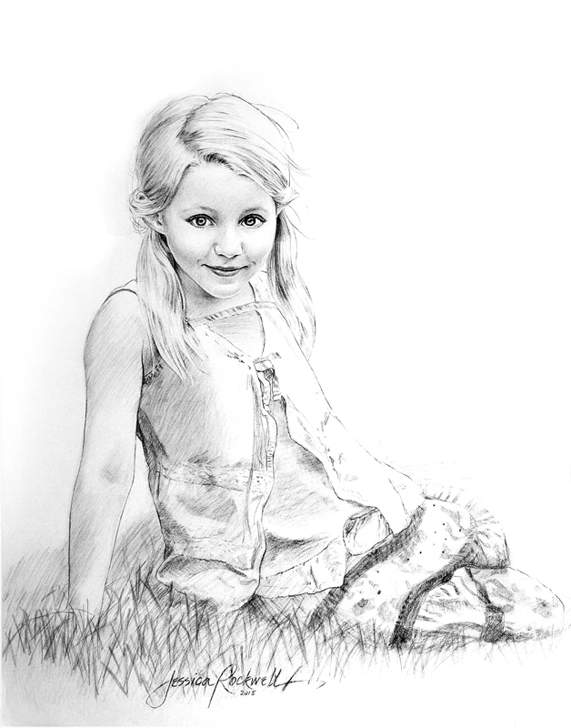 Charcoal Portrait Drawing Of Girl On Grass