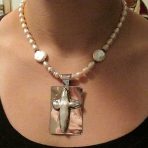 Necklace - Fresh Water PEARL CROSS on Sterling Silver with Fresh Water Pearl Beads (JS-23)