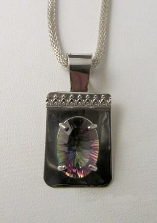 Necklace - Faceted MYSTIC TOPAZ on Sterling Silver with Patterned Wire Pendant on a Silver Plated Chain (JS-25)