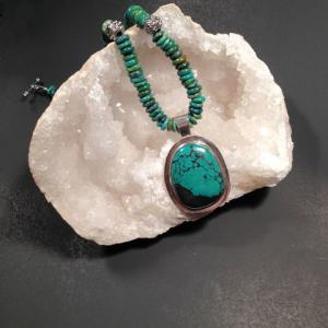 Necklace - TURQUOISE on Sterling Silver with Turquoise Beads (JS-51)