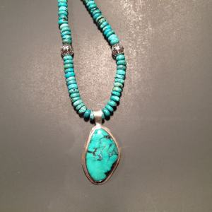 Necklace - TURQUOISE on Sterling Silver with Turquoise Beads (JS-52)