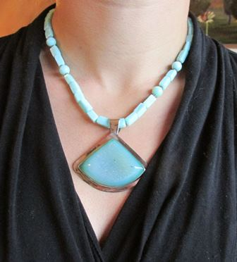 Necklace: Drusy with Blue Opal Beads (JS-67)