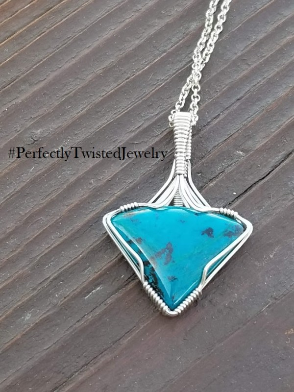 Chrysocolla Sterling Silver Wire Wrapped Designer Cabochon Pendant