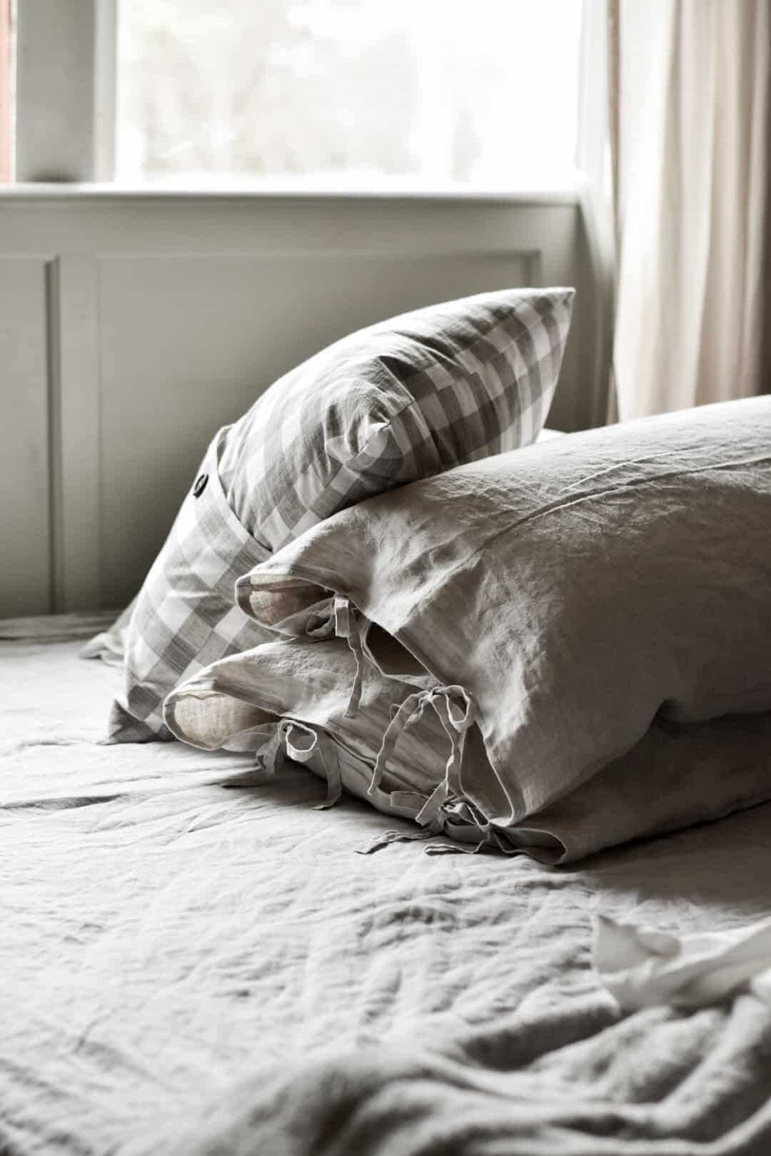 linen pillow covers with tie closures