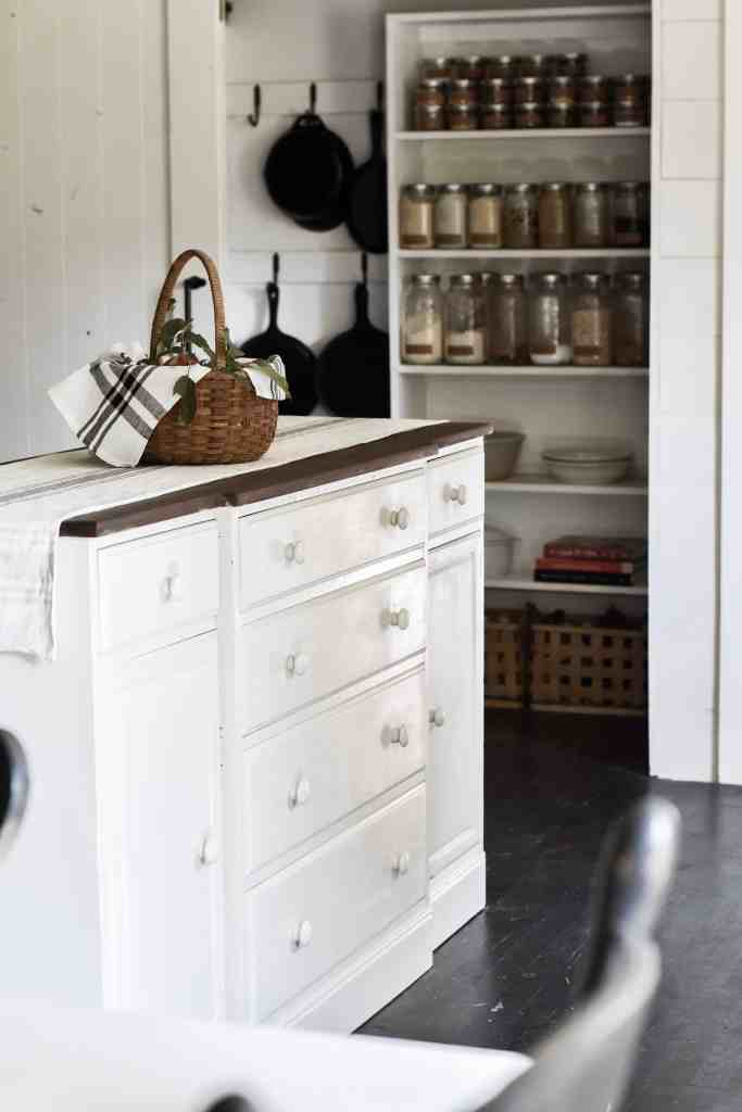 Rustic Farmhouse Vintage Buffet into Kitchen Island