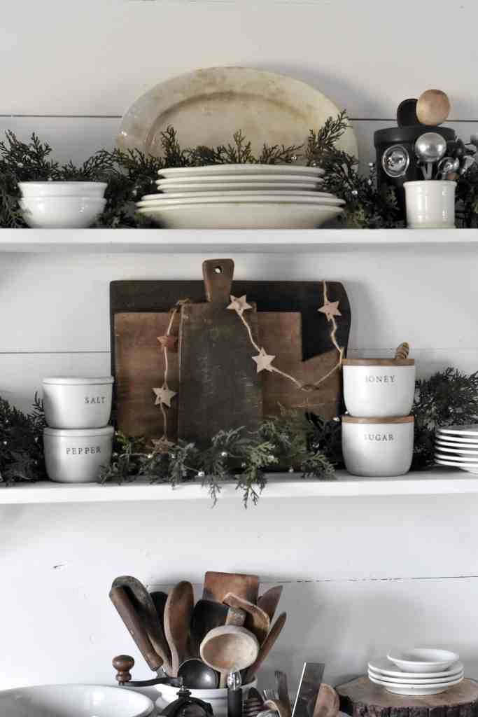 Simple Farmhouse Style Open Shelves For the Holidays