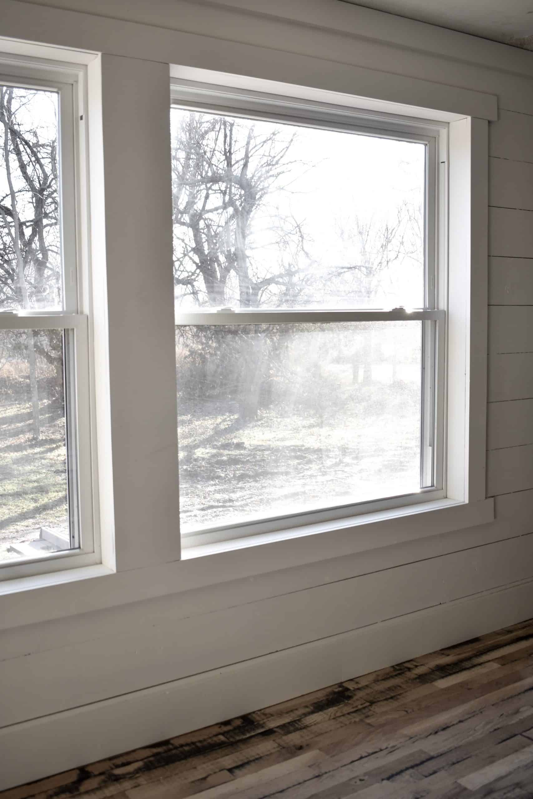 Before and After Mobile Home Simple Farmhouse Style Window Trim and Molding