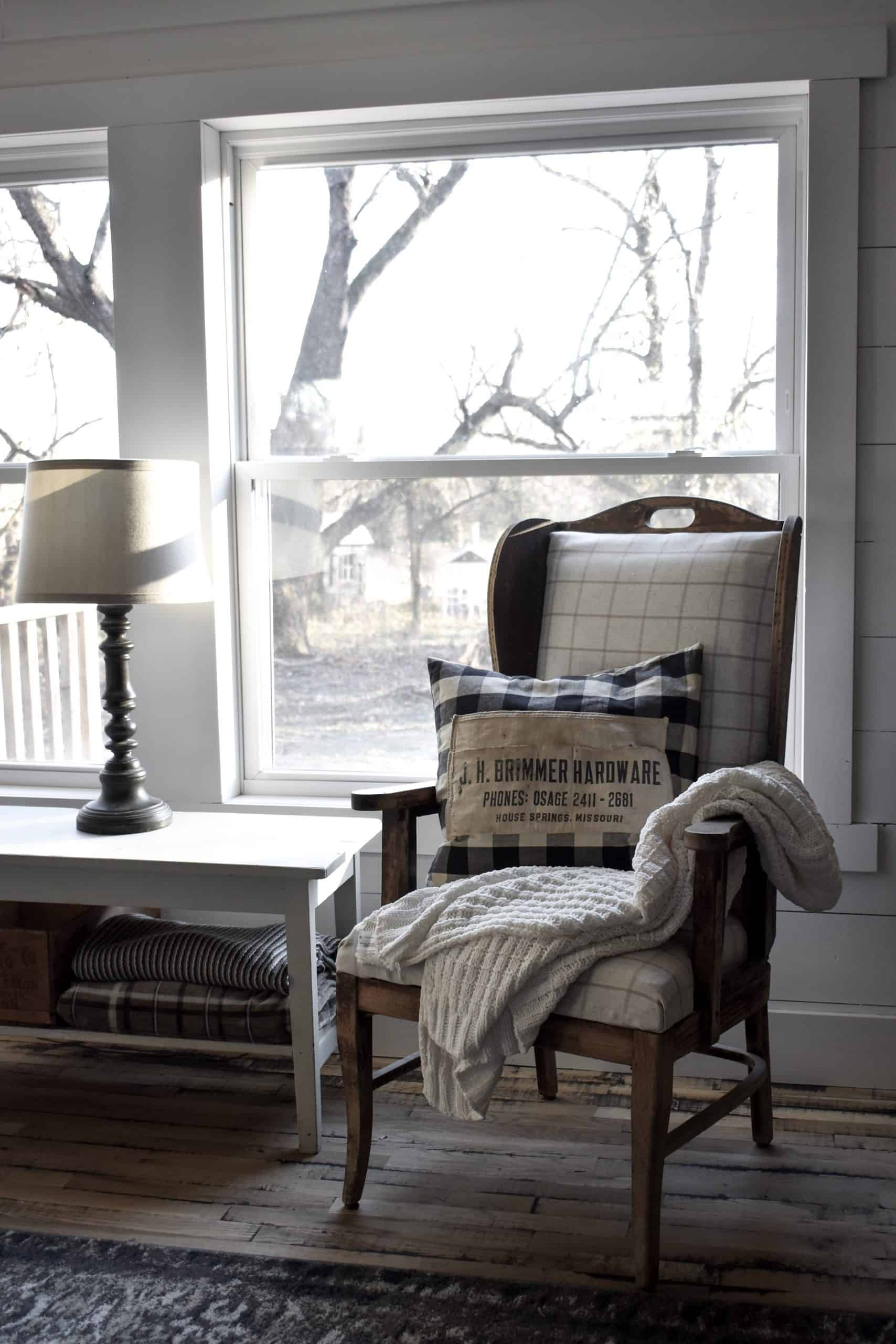 Antique Rustic Vintage Wing Back Chair