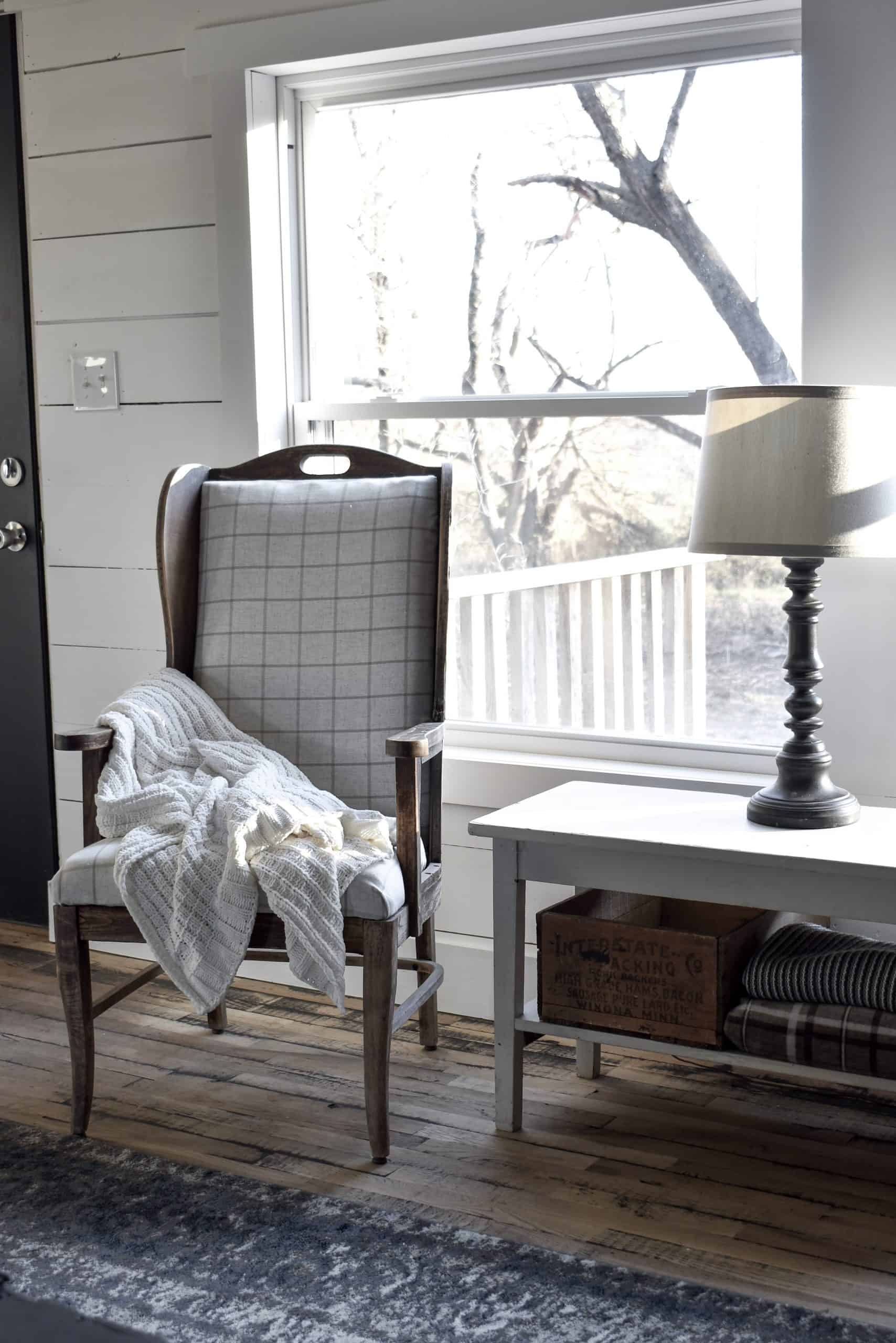 Antique Wing Back Chair in Simple Rustic Farmhouse Style Home
