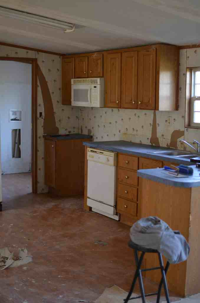 Before Photos of Mobile Home Kitchen