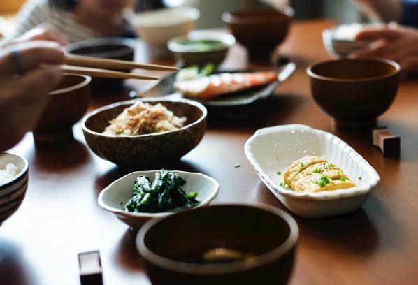 Asian food bowls chopsticks 745406