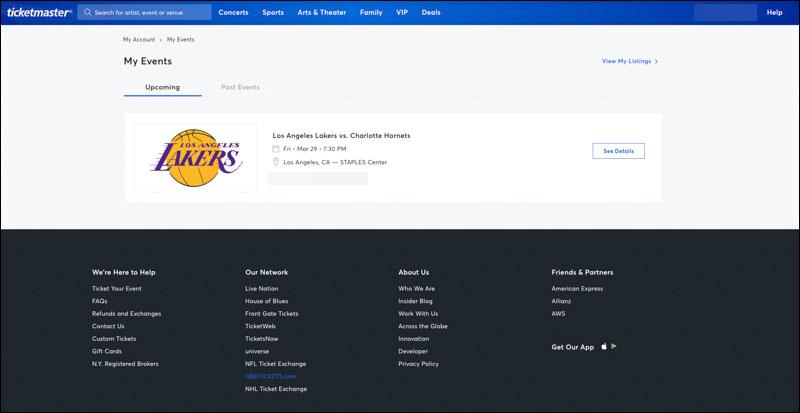 ticketmaster 訂票教學 線上購買 NBA 門票與取得 Barcode 條碼 1