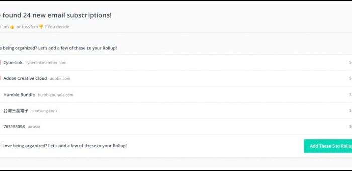 快速整理信箱 已訂閱廣告信 ,unroll.me 把不要的一鍵取消 10