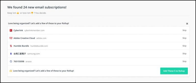 快速整理信箱 已訂閱廣告信 ,unroll.me 把不要的一鍵取消 8